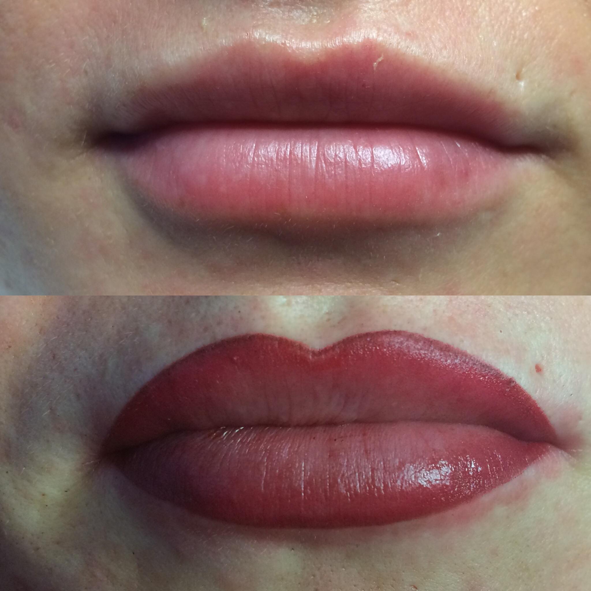 Makijaż Permanentny Ust Bezpośrednio Po Zabiegu Kontur Z Cieniem